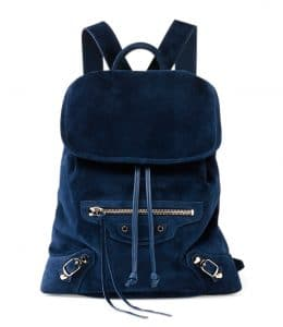 Balenciaga Navy Blue Suede Classic Traveler Backpack Bag