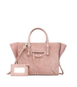 Balenciaga Pink Baby Daim Mini Papier A4 Zip Around Bag