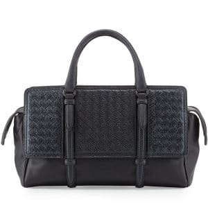 Bottega Veneta Navy Snakeskin Intrecciato Nappa Monaco Medium Bag