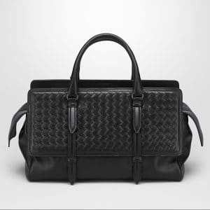 Bottega Veneta Nero Intrecciato Nappa Monaco Medium Bag