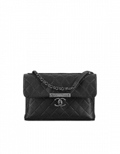 Chanel Black Calfskin Flap with Chanel Clasp Bag