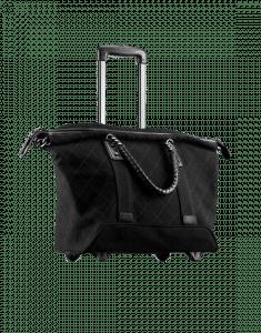 Chanel Black Canvas Street Style Travel Trolley Bag