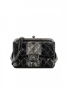 Chanel Black Lambskin with Python Compartment Bag