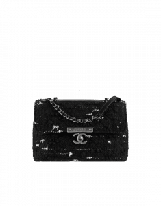 Chanel Black Tweed Flap with Chanel Clasp Bag