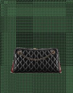 Chanel Black/Red Quilted Lamsbkin Shoulder Bag