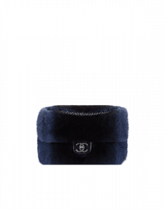 Chanel Blue Orylag Fur and Lambskin Flap Bag
