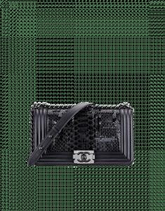 Chanel Blue Python/Sequin Boy Flap Small Bag
