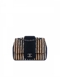 Chanel Blue/Beige Tweed Elementary Chic Flap Small Bag