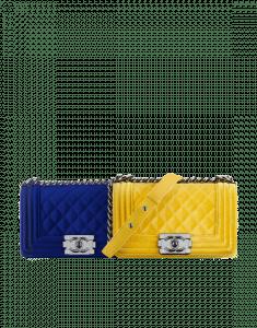 Chanel Blue/Yellow Velvet Boy Small Bags