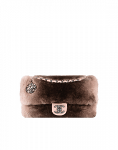 Chanel Brown Orylag Fur and Lambskin with Brooch Flap Medium Bag