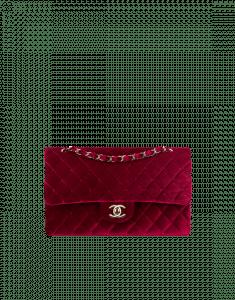 Chanel Burgundy Velvet Classic Flap Medium Bag