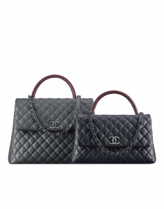 Chanel Grey Large and Blue Medium Calfskin/Lizard Coco Handle Bags