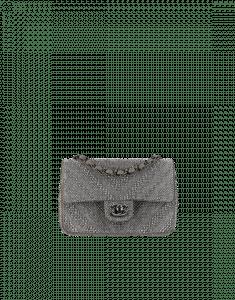 Chanel Grey Strass Embellished Chevron Flap Bag
