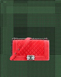 Chanel Red Velvet Boy Flap Medium Bag
