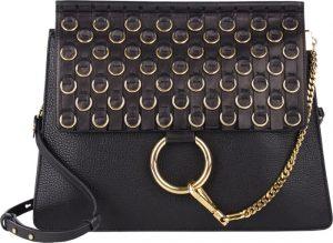 Chloe Black Embellished Faye Medium Bag