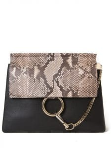 Chloe Black Leather/Python Faye Medium Bag
