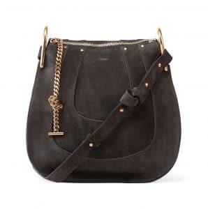 Chloe Iron Gray Suede Hayley Hobo Small Bag