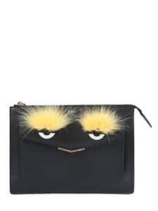 Fendi Black with Fox Fur Monster Clutch Bag