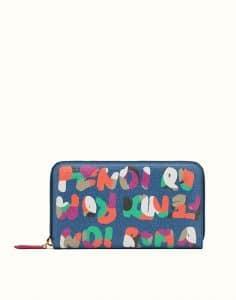 Fendi Blue Multicolor Crayons Zip Around Wallet