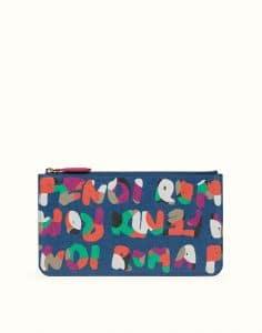 Fendi Blue Multicolor Fendi Roma Clutch Bag