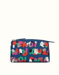 Fendi Blue Multicolor Nylon Fendi Roma Large Beauty Bag