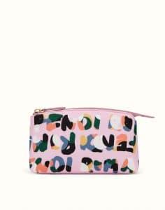 Fendi Lavender Multicolor Nylon Fendi Roma Large Beauty Bag