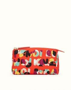 Fendi Poppy Red Multicolor Nylon Fendi Roma Large Beauty Bag