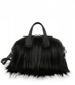 Givenchy Black Goat Fur Nightingale Bag