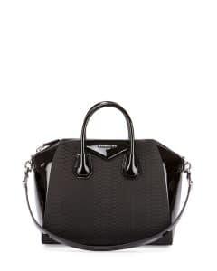 Givenchy Black Python/Patent Antigona Bag