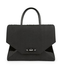Givenchy Black Python/Patent Obsedia Satchel Medium Bag