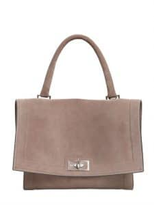 Givenchy Taupe Grey Suede Shark Satchel Small Bag