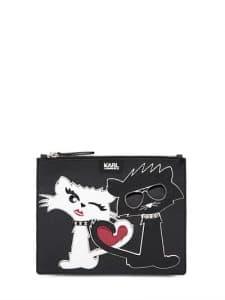 Karl Lagerfeld Black Perspex K Choupette Clutch Bag