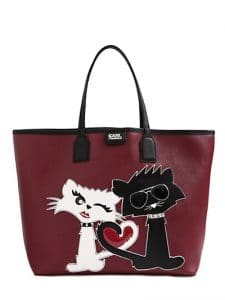 Karl Lagerfeld Red K Choupette Love Faux Tote Bag