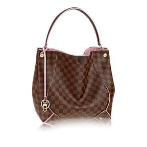 Louis Vuitton Rose Ballerine Caissa Damier Ebene Hobo Bag