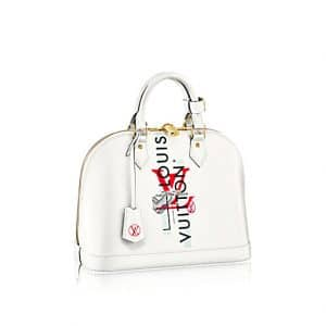 Louis Vuitton White Epi LV Logo Alma PM Bag