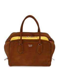 Prada Brown Suede Inside Tote Large Bag