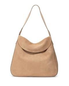 Prada Camel Suede Doubled Flap-Top Hobo Bag