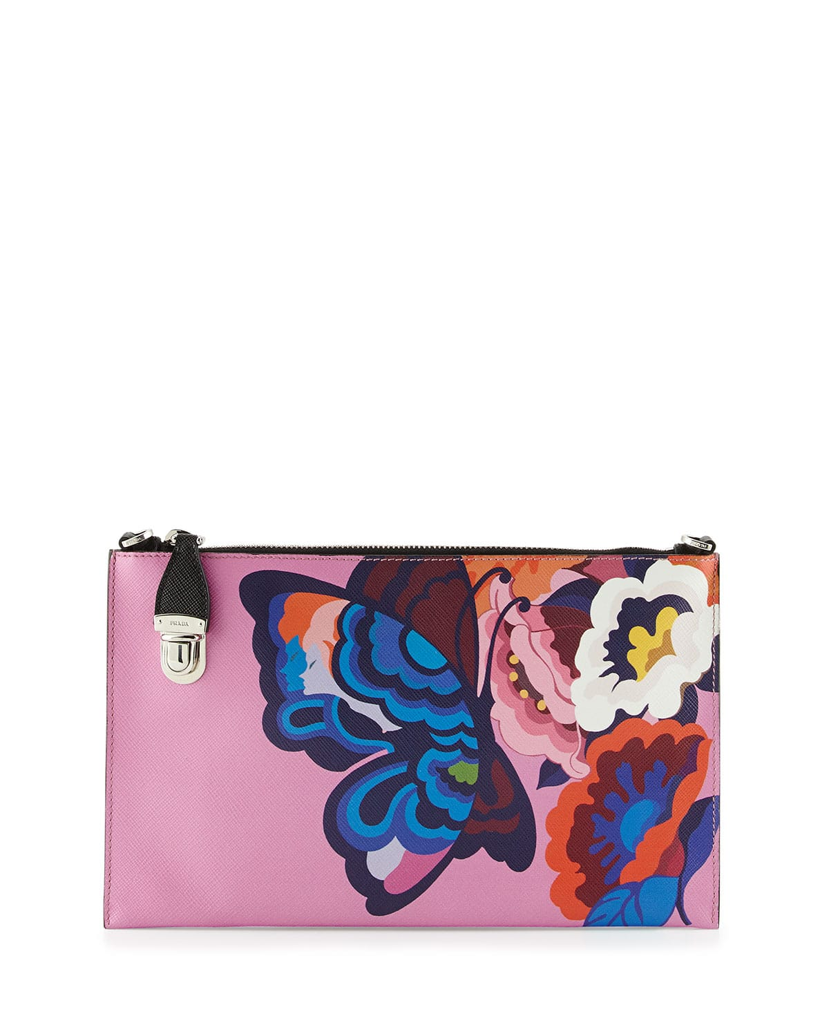 prada printed satin leather evening bag