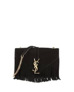 Saint Laurent Black Suede Fringe Monogram Shoulder Bag
