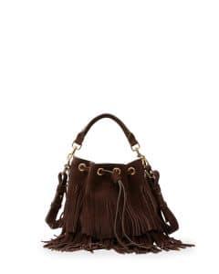 Saint Laurent Dark Brown Suede Fringe Emmanuelle Small Bucket Bag