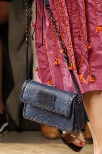 Bottega Veneta Blue Crocodile Flap Bag - Spring 2016