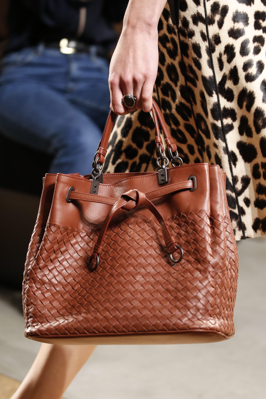 75e1ecd89d Bottega Veneta Brown Intrecciato Drawstring Top Handle Bag - Spring 2016