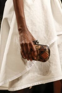 Bottega Veneta Brown/Beige Patchwork Exotic Skin Knot Clutch Bag - Spring 2016