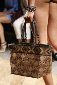 Bottega Veneta Brown/Beige Patchwork Exotic Skin Tote Bag - Spring 2016
