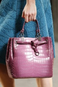 Bottega Veneta Pink Crocodile Drawstring Top Handle Bag - Spring 2016
