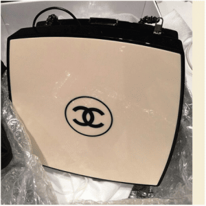 Chanel Beige/Black Compact Box Clutch Bag 1