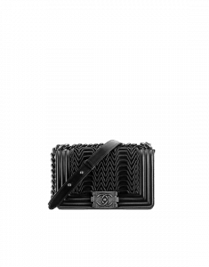 Chanel Black 3D Pleated Boy Flap Small Bag