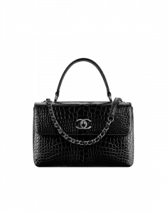 Chanel Black Alligator Trendy CC Small Dual Handle Flap Bag