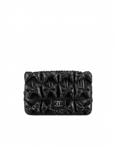 Chanel Black Draped Fabric Lemarie Flap Bag