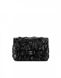 Chanel Black Draped Lambskin Lemarie Flap Bag